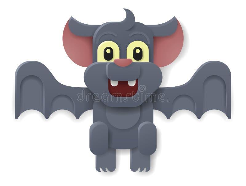 Halloween Cute Vampire Bat Cartoon. A Halloween cute vampire bat in a cartoon papercraft style stock illustration