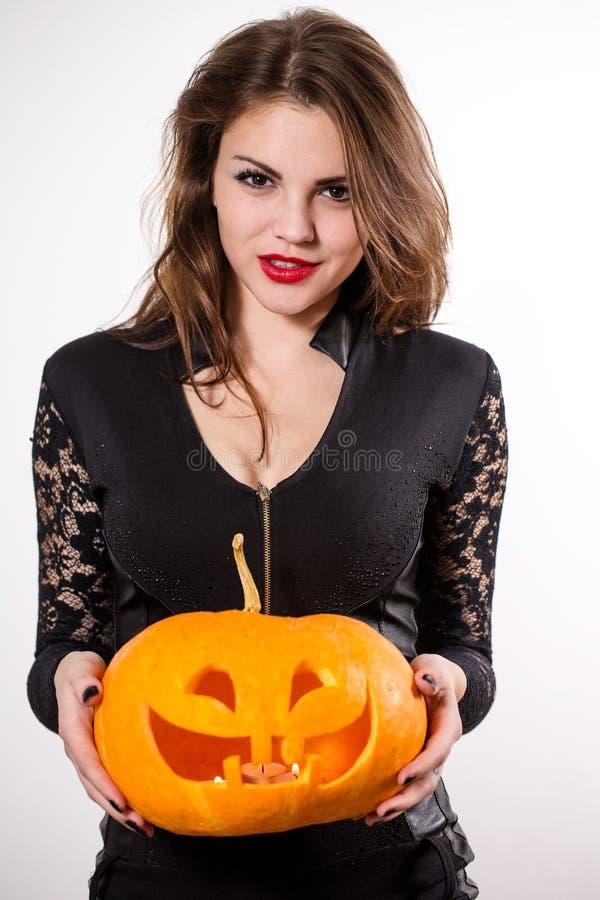halloween czarownica latarniowa dyniowa fotografia royalty free