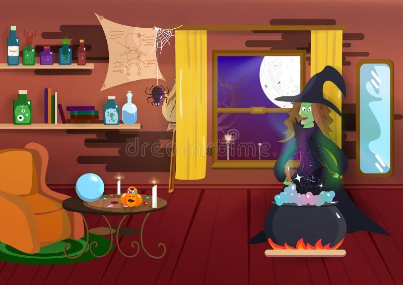 Halloween, czarownicy kulinarna magia, nocy partyjna kostiumowa kreskówka, pająk, nietoperz i wnętrze, straszny, domowy, cudu pla ilustracji