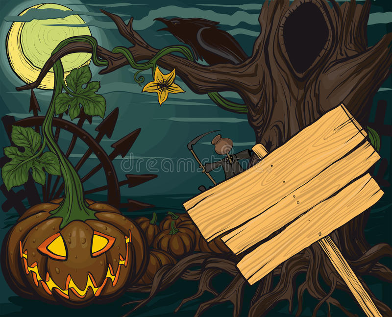 halloween dźwigarki lampionów o bania ilustracja wektor