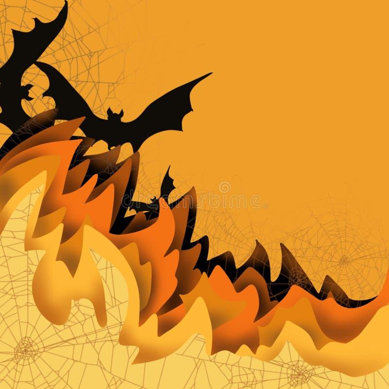 Halloween 3D spadku scena pokrywać się kolor ablegruje spiderwebs, straszni nietoperze, przestrzeń dla teksta, wielka dla zaprosz ilustracja wektor