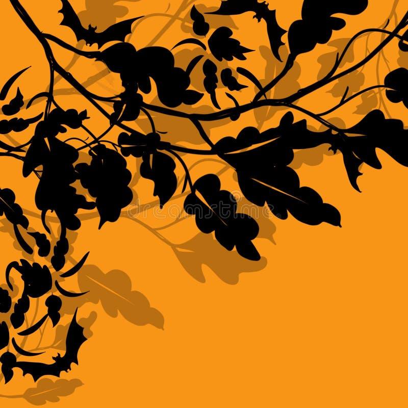 Halloween 3D spadku scena pokrywać się opuszcza i rozgałęzia się w silouhette z latanie nietoperzami royalty ilustracja