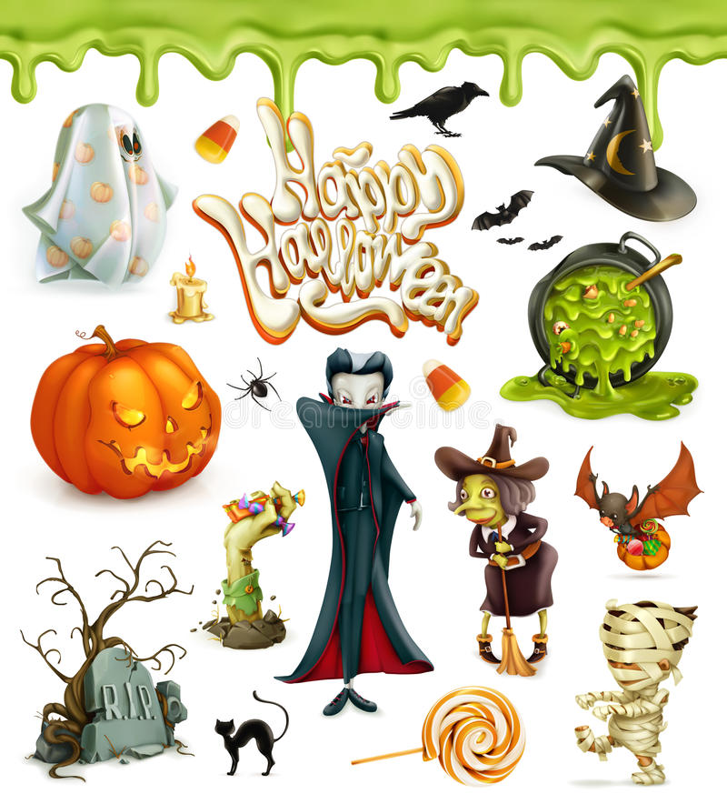 Halloween 3d vector icons. Pumpkin, ghost, spider, witch, vampire, candy corn. Set of cartoon characters and objects stock illustration