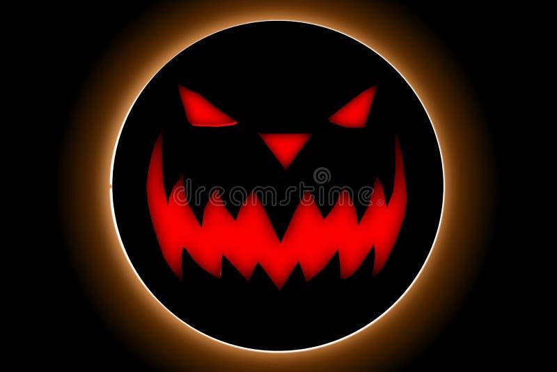 Halloween-dag met pompoenduivel op de zwarte achtergrond stock afbeelding