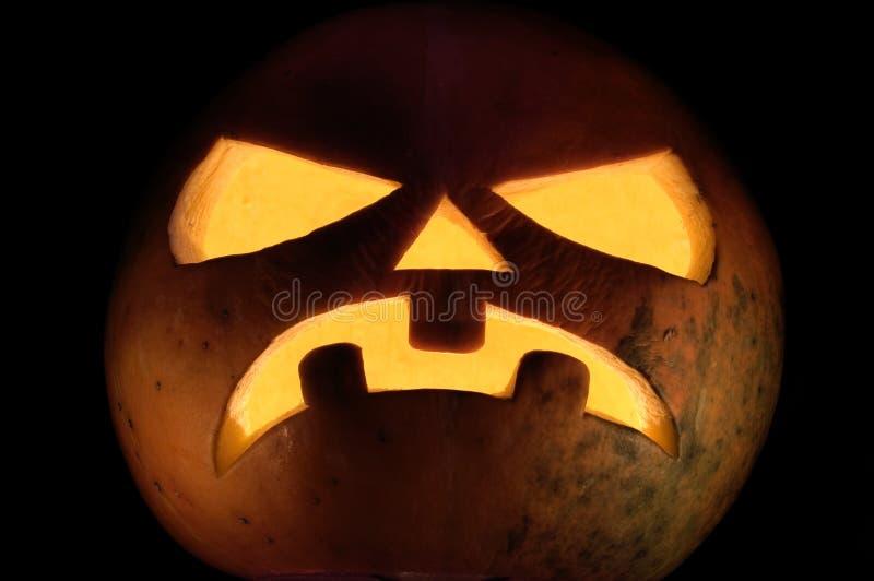 Halloween_dark. The large orange pumpkin on a black background royalty free stock photography