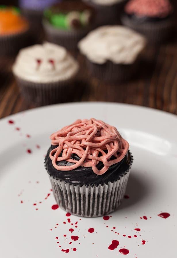 Halloween-darmen cupcake royalty-vrije stock afbeelding