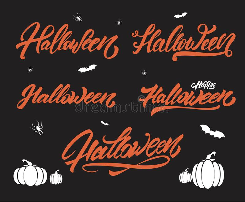 Halloween, das Artsatz beschriftet K?rbise, Spinnen, Schl?ger Taube als Symbol der Liebe, pease vektor abbildung