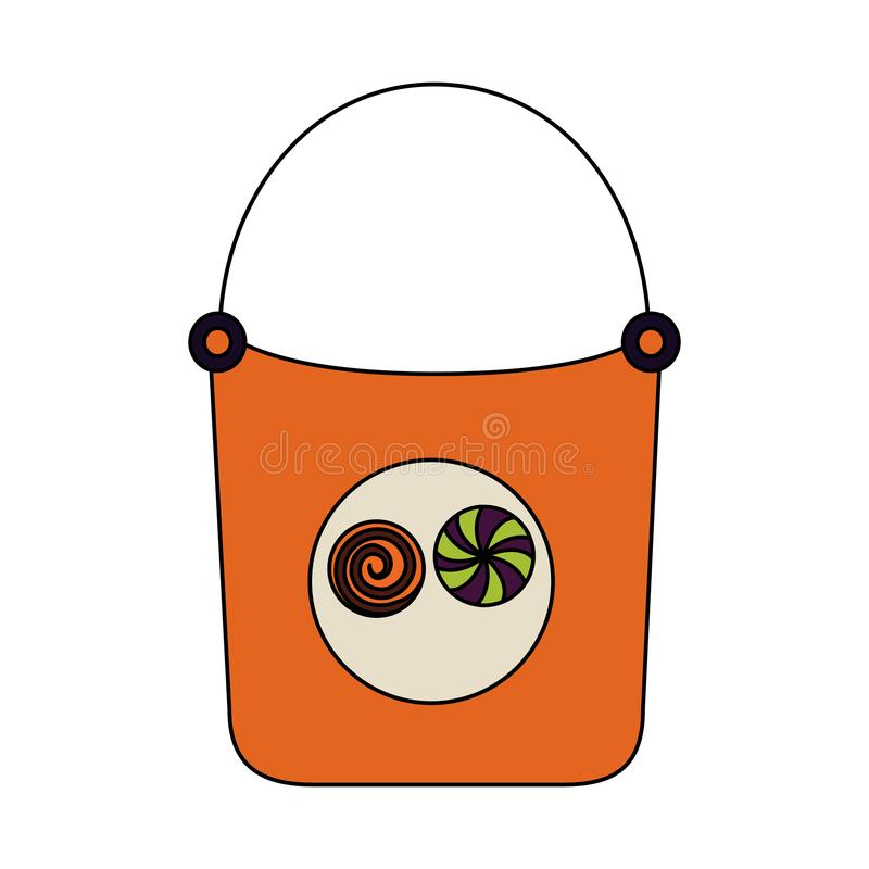 Halloween day candys. Halloween day basket candys sweet vector illustration stock illustration