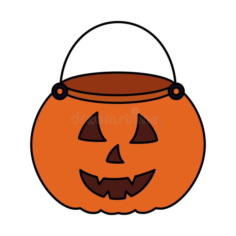 Halloween day candys. Halloween day basket pumpkin candys vector illustration royalty free illustration