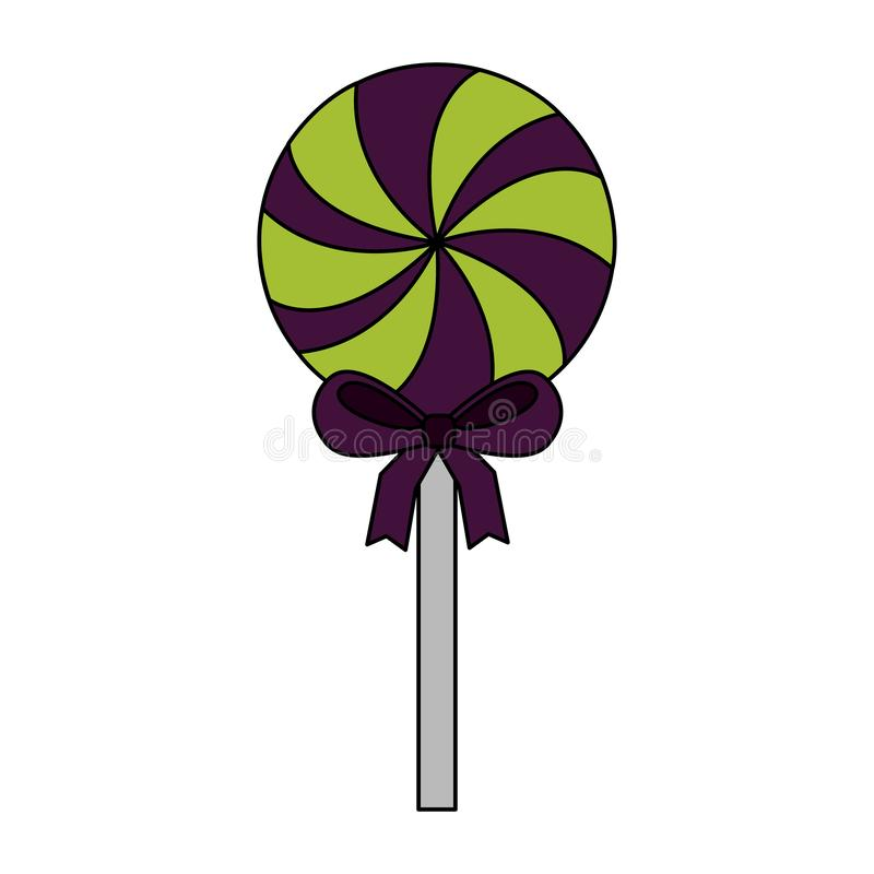 Halloween day candys. Green lollipop bow vector illustration stock illustration
