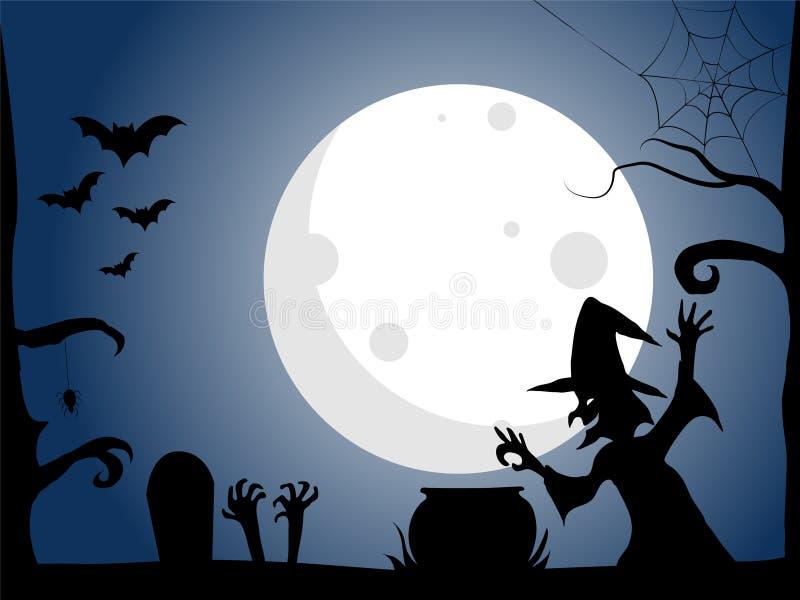 Halloween-de achtergrond, Heksenwerktijden, Volle maan glanst, Blauwe achtergrond, vectorillustratie EPS 10 vector illustratie