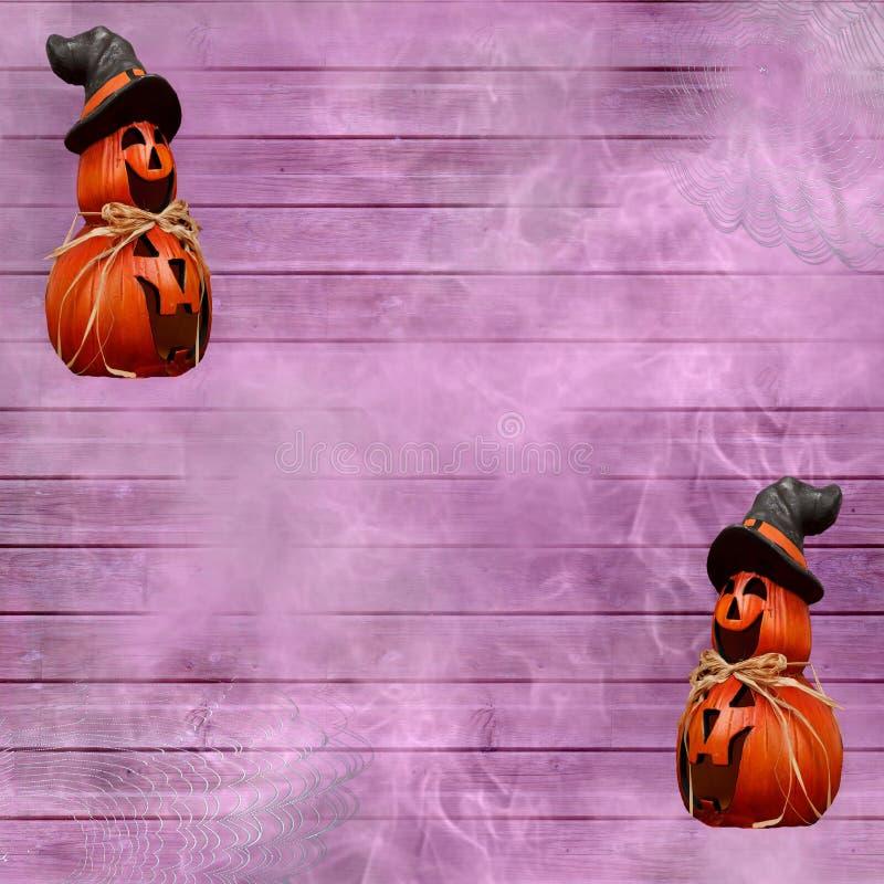 Halloween-de achtergrond van de festivalviering met purpere houten plankenspinnewebben en gesneden pompoenen die een heksenhoed d vector illustratie