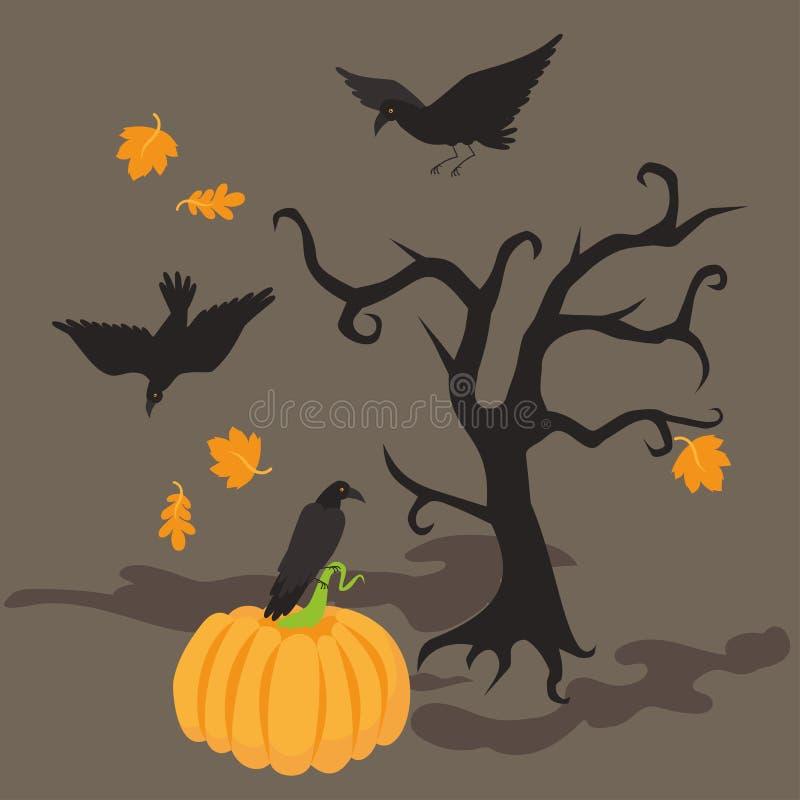 Halloween-de achtergrond van de nachtaffiche met enge boom Dode griezelige Tak, de herfstbladeren, de groetkaart van de raafpompo stock illustratie