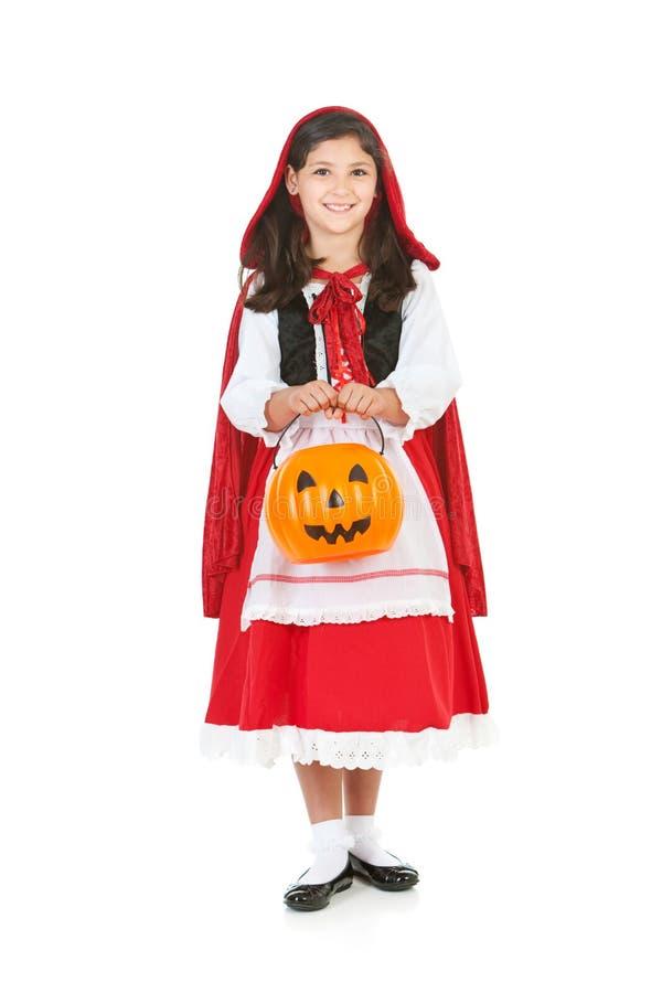 Halloween: De Emmer van de holdingspompoen voor Traktaties royalty-vrije stock foto's