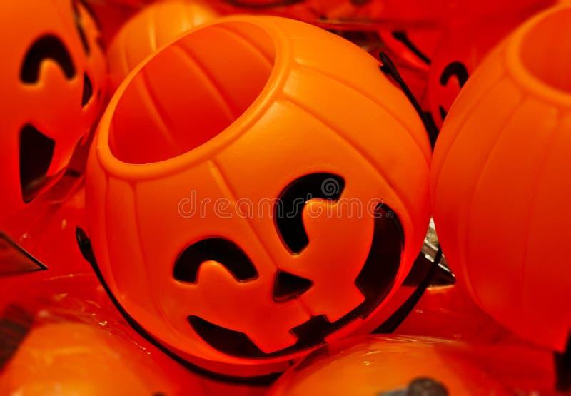 Halloween-de glimlach oranje stuk speelgoed van het pompoengezicht royalty-vrije stock foto's