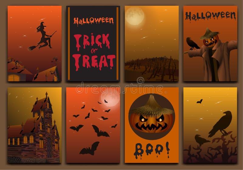 Halloween-de het ontwerpvector van kaartenbaners met pompoen wordt geplaatst, behekst, knuppels, vogelverschrikker en spookhuis d vector illustratie