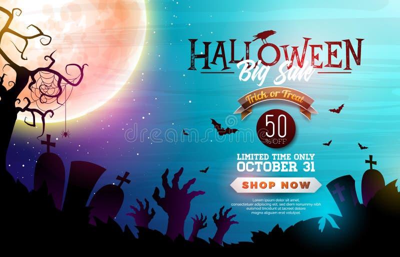 Halloween-de illustratie van de Verkoopbanner met maan, kraai en vliegende knuppels op de blauwe achtergrond van de nachthemel Ve royalty-vrije illustratie