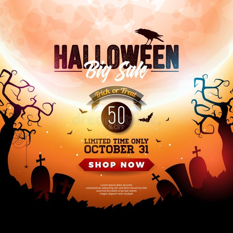 Halloween-de illustratie van de Verkoopbanner met maan, kraai en vliegende knuppels op de oranje achtergrond van de nachthemel Ve royalty-vrije illustratie