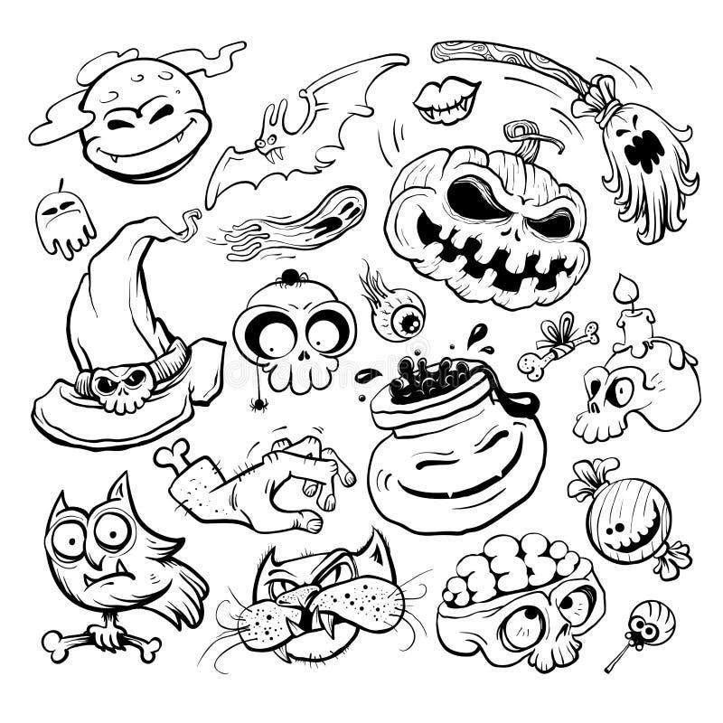 Halloween-de inzameling van de grafiekinkt - pompoen, heksenhoed, uil, kat vector illustratie