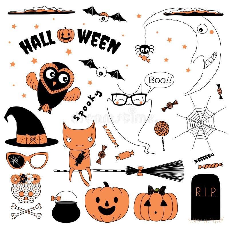 Halloween-de inzameling van ontwerpelementen stock illustratie