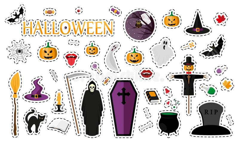 Halloween De kentekens van het manierflard stock illustratie