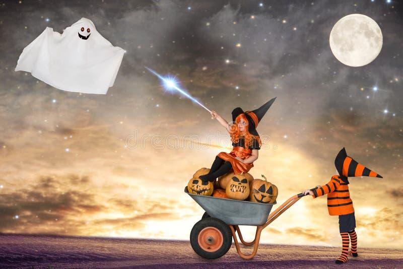 Halloween De kinderen in kostuums voor Halloween lopen in het hout bij nacht en toveren royalty-vrije stock afbeelding