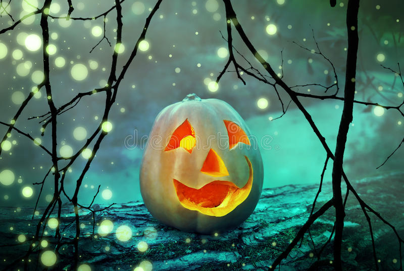 Halloween-de lantaarnhoofd van de pompoen eng hefboom in een mysticus mistig bos bij griezelige nacht royalty-vrije stock foto