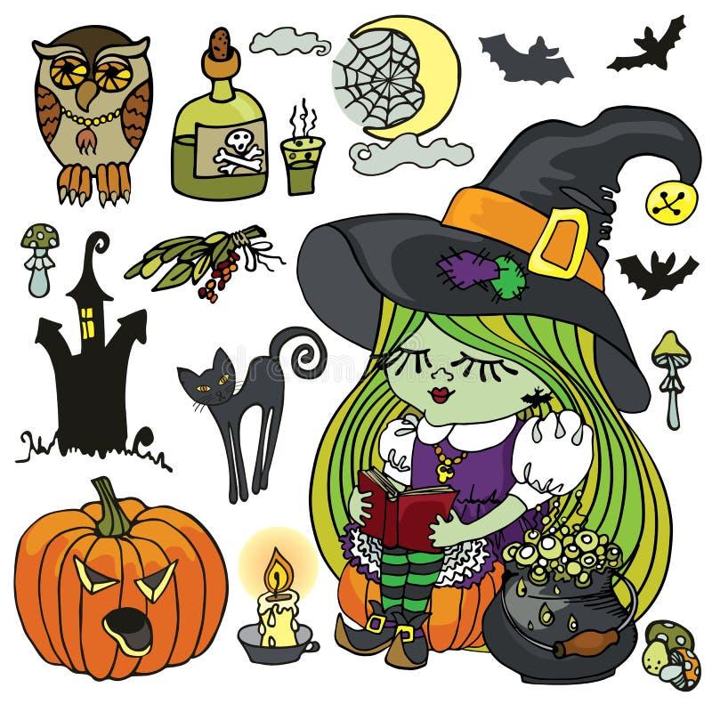 Halloween-de lezing van het Heksenmeisje, griezelige boiler, stock illustratie