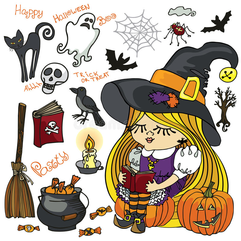 Halloween-de lezing van het Heksenmeisje, griezelige geplaatste elementen vector illustratie