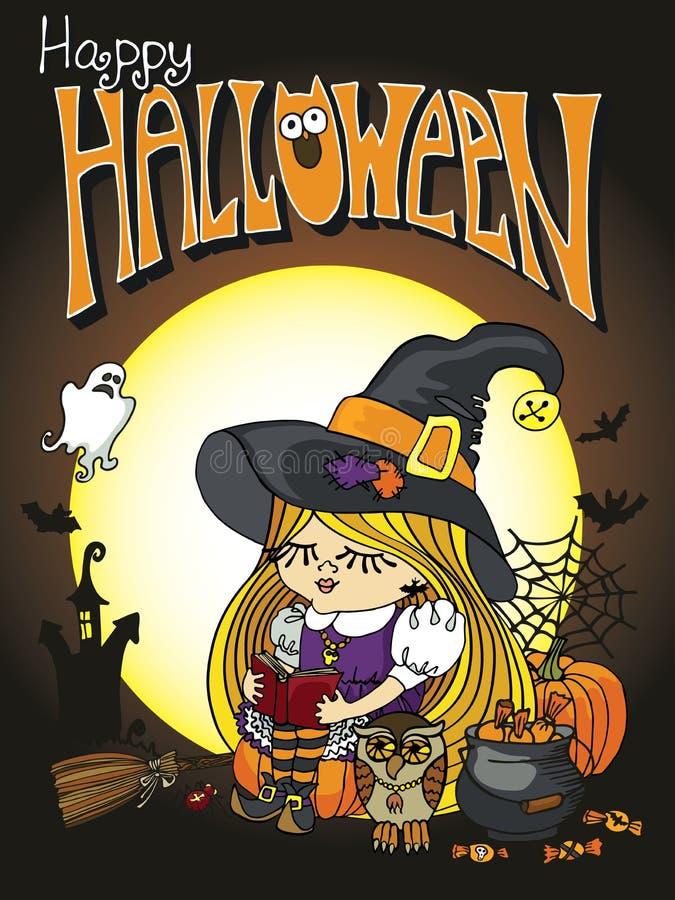 Halloween-de lezingsboek van het Heksenmeisje Gelukkig Halloween stock illustratie