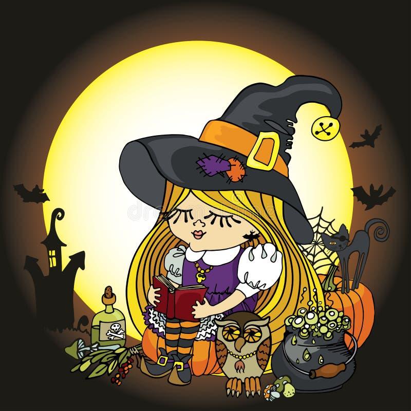 Halloween-de lezingsboek van het Heksenmeisje Maan, pompoen, kat royalty-vrije illustratie
