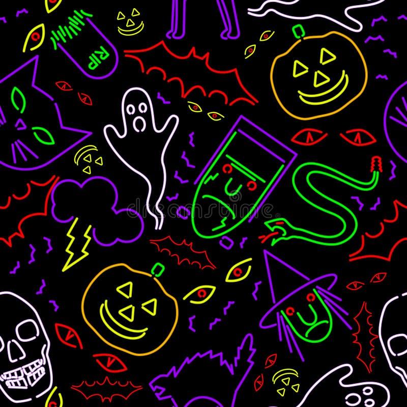Halloween de néon sem emenda ilustração do vetor