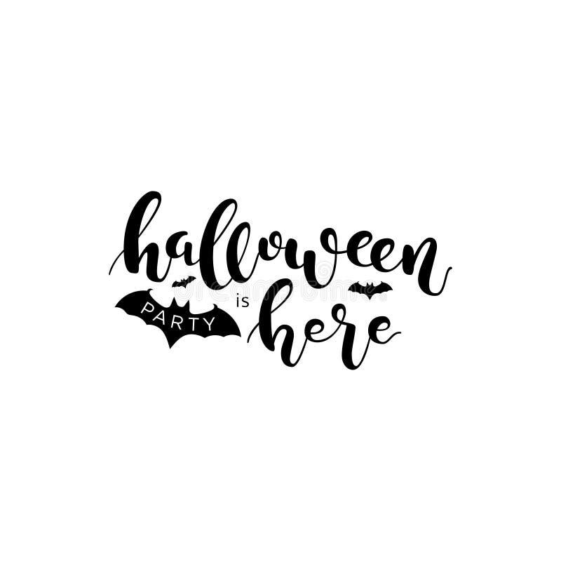 Halloween-de partij is hier Het zwarte van letters voorzien vector illustratie