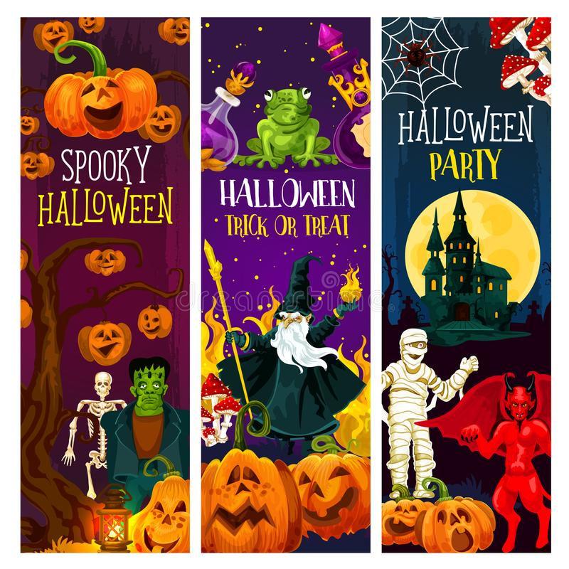 Halloween-de partijbanner met truc of behandelt pompoen stock illustratie