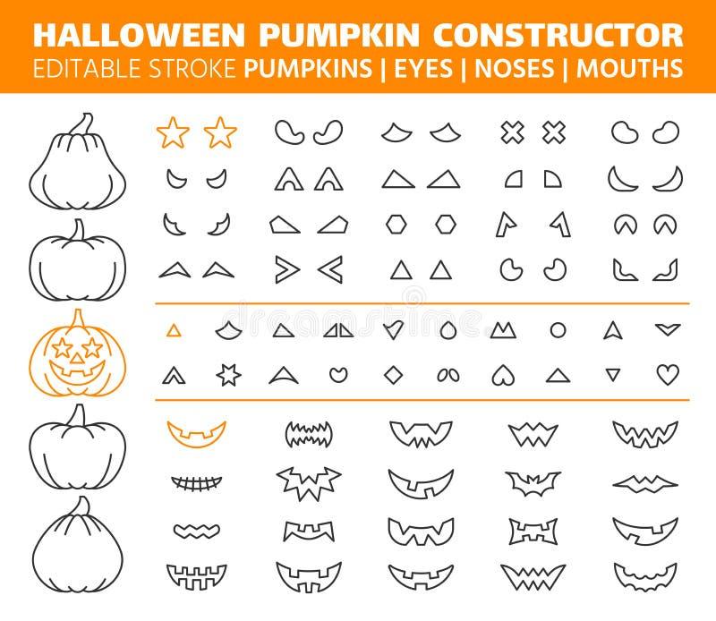 Halloween-de pictogrammen vectorreeks van de Pompoen eenvoudige lijn stock illustratie