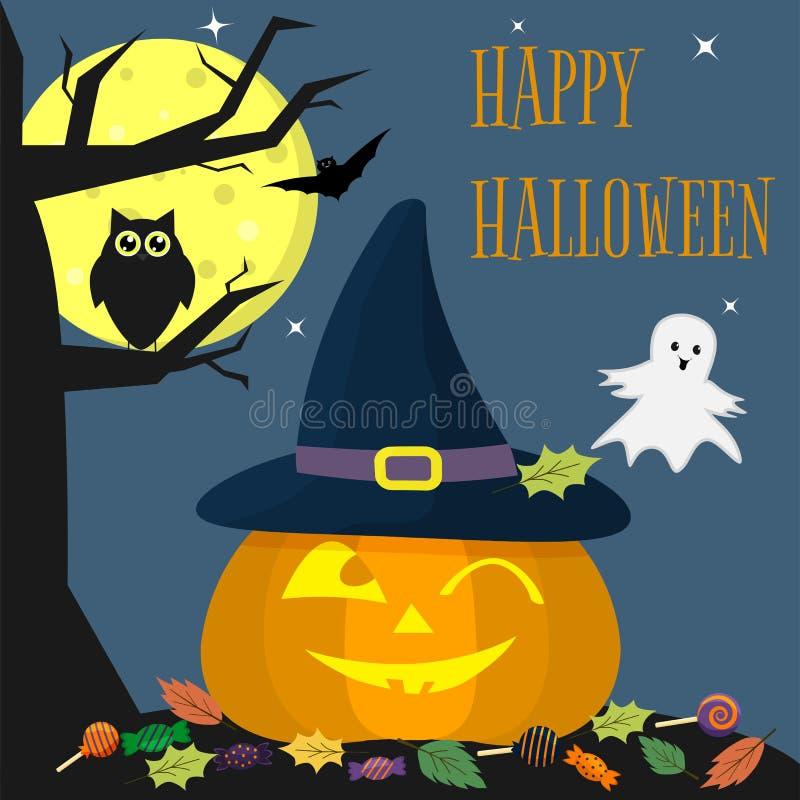 Halloween-de pompoen in een heks-hoed glimlacht Dichtbij een boom, een uil, een spook, een volle maan bij nacht Snoepjes en blade royalty-vrije illustratie