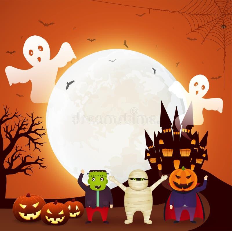 Halloween-de pretpartij met kinderen kleedde zich in Halloween-kostuums, pompoenen, vliegende spoken en donker kasteel op oranje  royalty-vrije illustratie