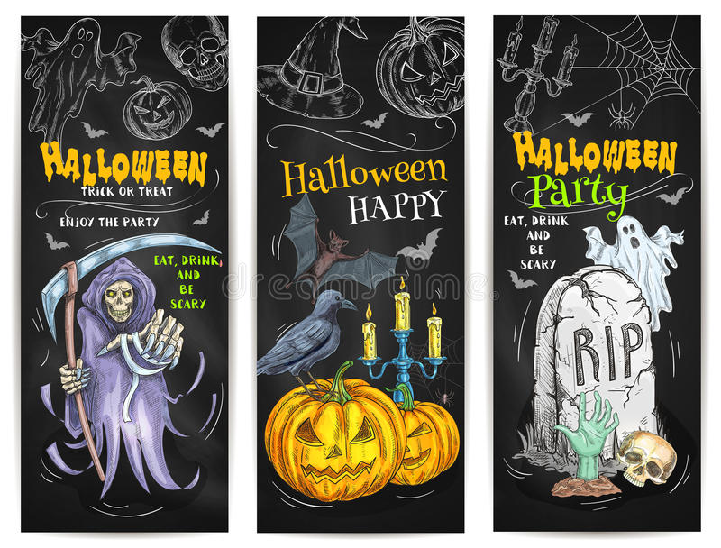 Halloween-de schetsontwerp van het Partijkrijt op bord stock illustratie