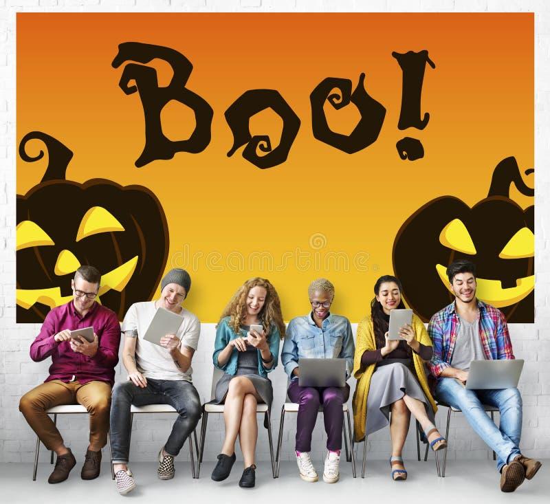Halloween-de Truc behandelt Griezelig Griezelig Pompoenconcept stock afbeelding
