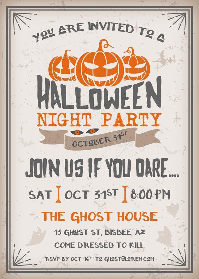 Halloween-de Uitnodiging van de Nachtpartij met eng pompoenenontwerp vector illustratie