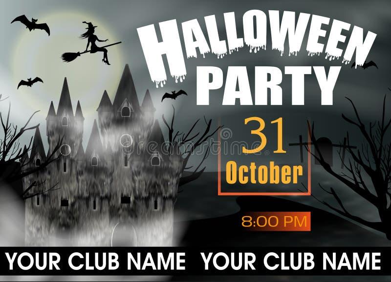 Halloween-de uitnodiging van het Partijmalplaatje of affiche en banner met gotisch kasteel, vliegende jonge heks en volle maan Ve royalty-vrije illustratie