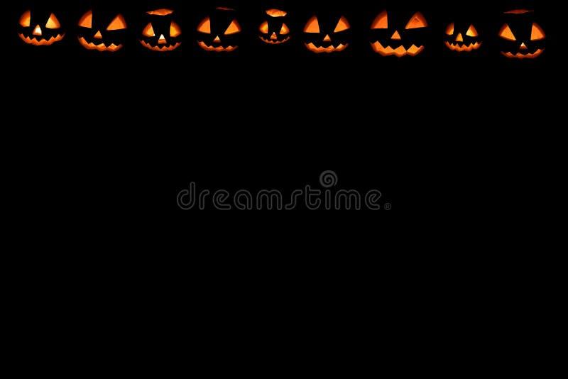 Halloween-de vastgestelde hoofdhefboom van het pompoenkader stock afbeeldingen
