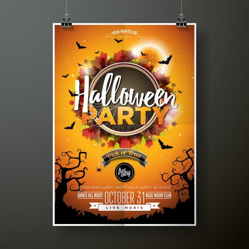 Halloween-de vectorillustratie van de Partijvlieger met maan op oranje hemelachtergrond Vakantieontwerp met spinnen en knuppels v royalty-vrije illustratie