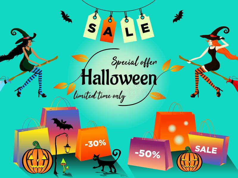 Halloween-de verkoopspeciale aanbieding met jonge die vrouw twee in kostuums van heksen wordt donker-gevild en wordt wit-gevild v stock illustratie