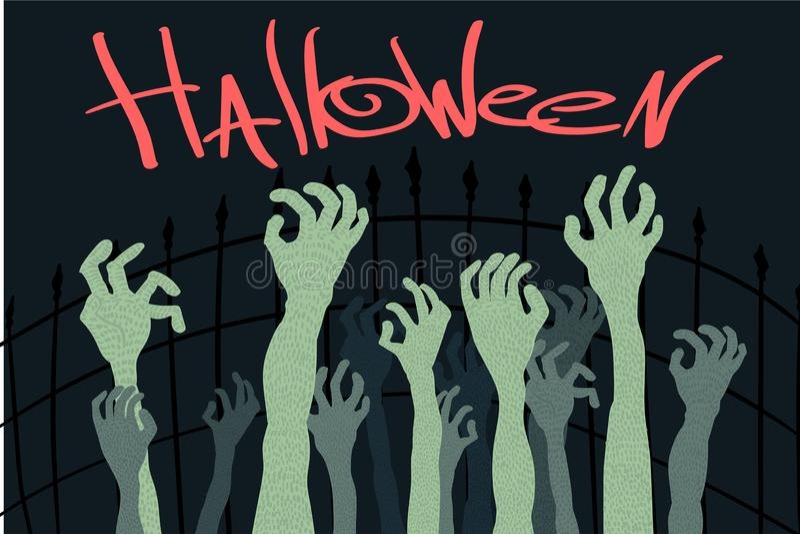 Halloween-de zombieën dienen een illustratie van het kerkhof Vectorbeeldverhaal in royalty-vrije illustratie