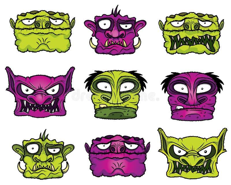 Halloween-de zombiehoofden van de monsterverschrikking royalty-vrije illustratie