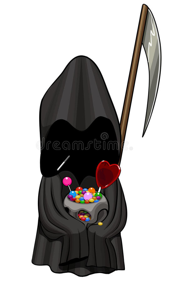 Halloween death with scythe. Holding a skull full of sweets and heart candy, and eating chupa chups. Check out my other Halloween characters in the Halloween royalty free illustration