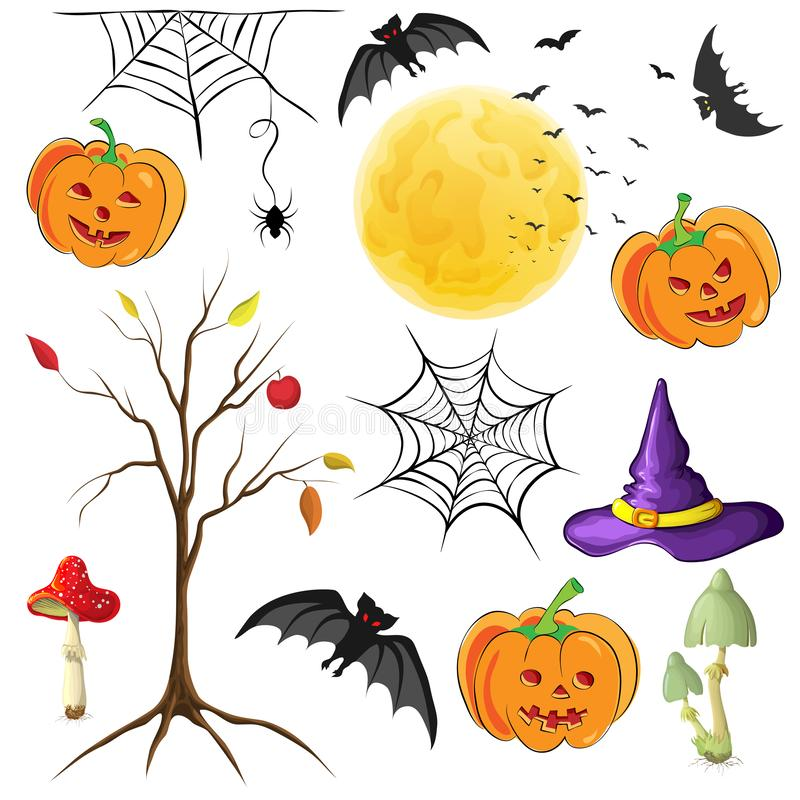 halloween decor elements isolated on white. cute halloween cartoons element collection for celebration design. vector illustration stock illustration