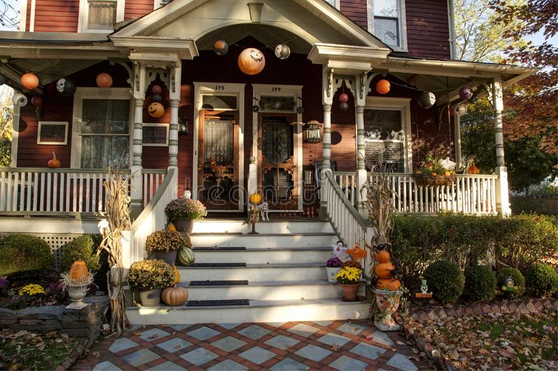 Download Halloween decorated porch editorial stock photo. Image of fall -  61633703