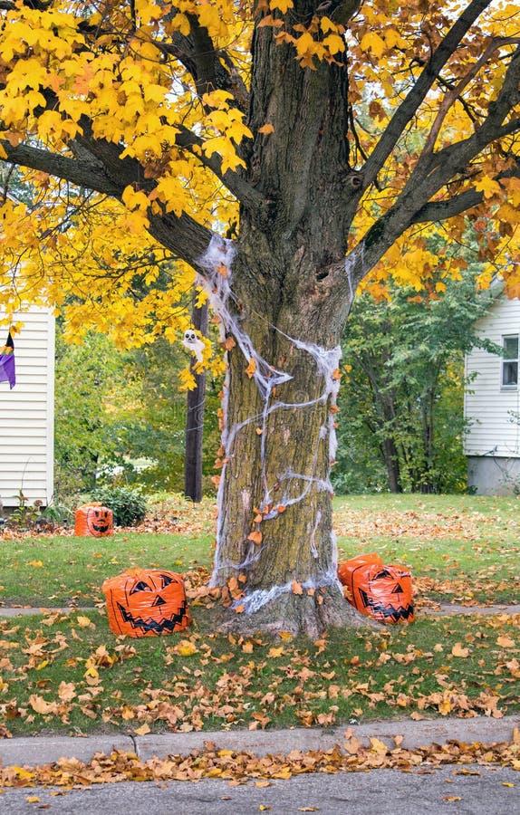 Halloween Decoratie Buiten.De Pompoenen En De Decoratie Van Halloween Buiten Een Huis